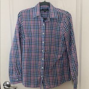 Lands End Small Button Down Plaid Blouse